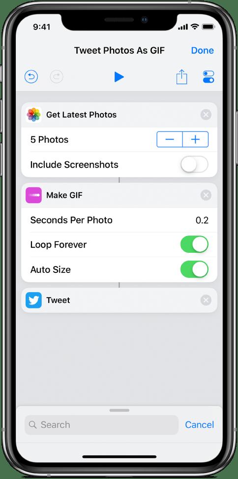 Shortcuts App on  IOS 12